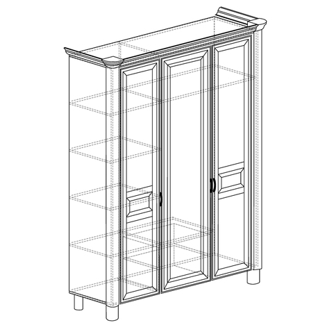 Шкаф 3-дверный Элли 570