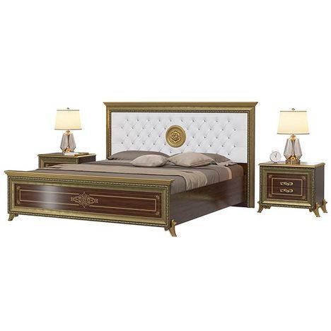 Кровать Версаль с мягким изголовьем орех тайский