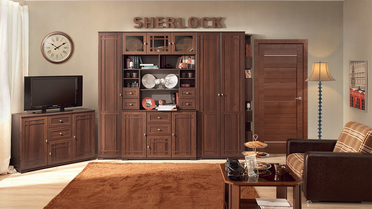 Угловая стенка Шерлок дуб сонома