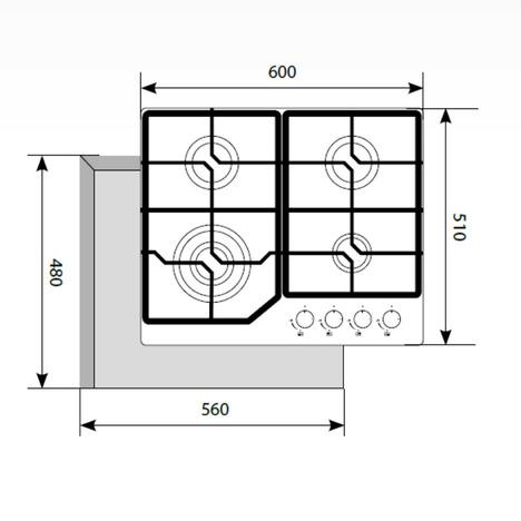 Газовая варочная поверхность LEX GVG 640-1 BL