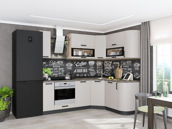 Модульная кухня угловая Контемп слоновая кость