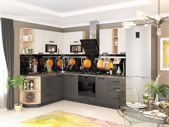 Кухня модульная Контемп графит-слоновая кость