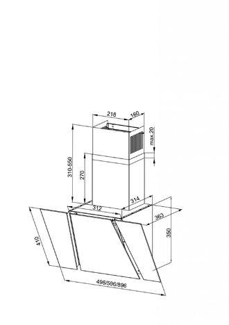 Наклонная кухонная вытяжка LEX ORI 600 BLACK