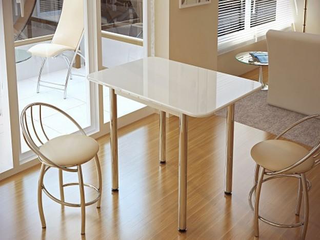 Стол обеденный белый глянец